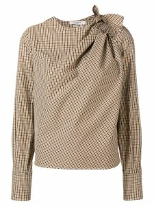 Isabel Marant Étoile checked ruched blouse - Neutrals