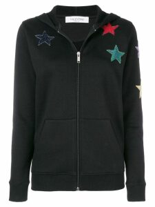 Valentino star embroidered hoodie - Black