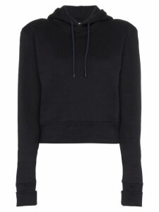 A Plan Application cropped fitted cotton hoodie - Blue