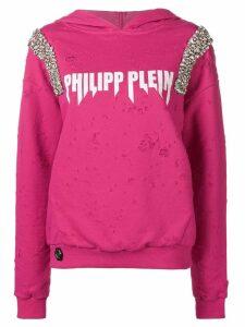 Philipp Plein crystal-embellished sweatshirt - PINK