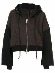 Unravel Project two-tone cropped hoodie - Brown