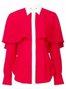 Sara Battaglia contrasting detail cape shirt - Red