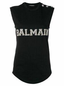 Balmain logo embroidered tank top - Black