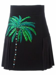 Fausto Puglisi embroidered side pleat skirt - Black