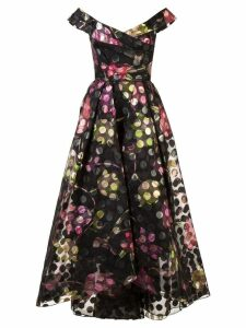 Marchesa Notte off-the-shoulder floral dress - Black