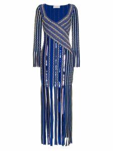 Peter Pilotto Fringe Jacquard Midi-Dress - Blue