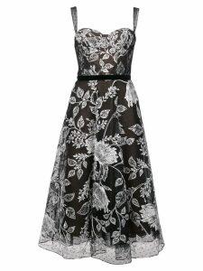 Marchesa Notte floral embroidered flared dress - Black