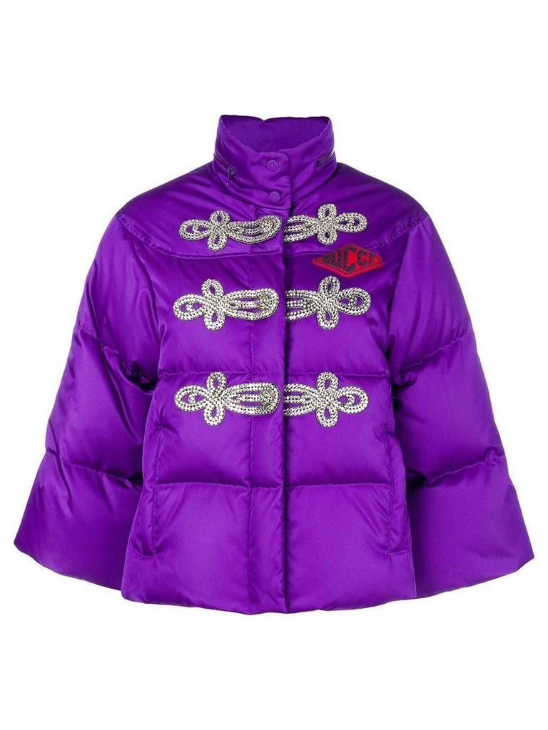 Gucci crystal-embellished puffer jacket - Purple