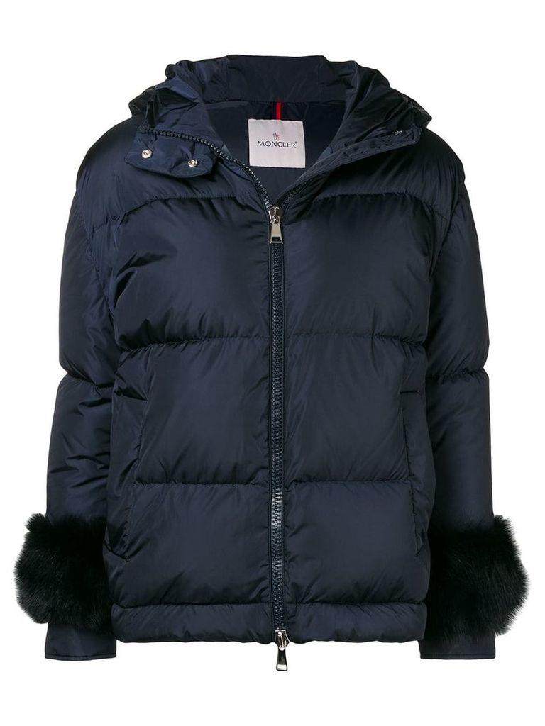 Moncler fur-embellished down jacket - Blue