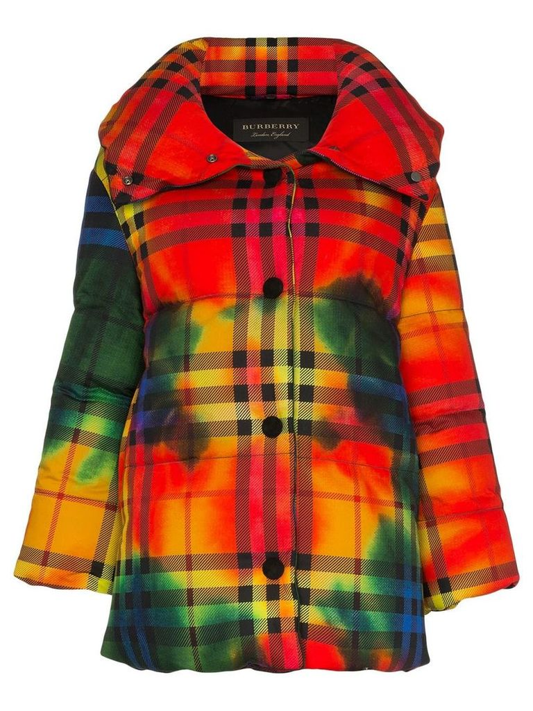 Burberry vintage check tie-dye cotton puffer jacket - Red