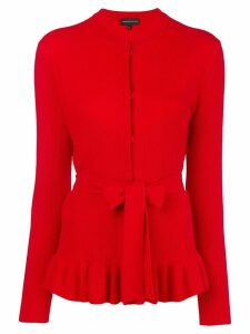 Cashmere In Love cashmere ruffled hem cardigan - Red