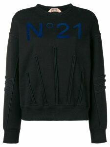 Nº21 piped details logo sweater - Black