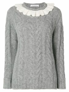 Philosophy Di Lorenzo Serafini frill trim cable knit sweater - Grey