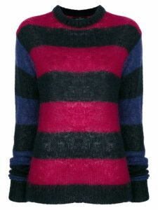 Rokh elongated sleeves striped jumper - Blue