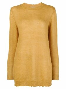 Red Valentino distressed elongated jumper - Yellow