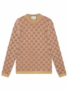 Gucci Sweater with crystal GG motif - Neutrals