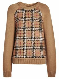 Burberry Vintage Check Wool Jacquard Sweater - Yellow