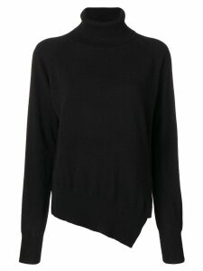 Zanone asymmetric roll neck jumper - Black