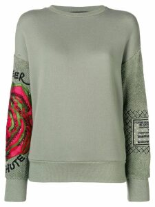 Mr & Mrs Italy embroidered sleeve sweatshirt - Green