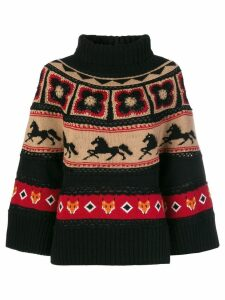 Alberta Ferretti intarsia-knit turtleneck jumper - Black