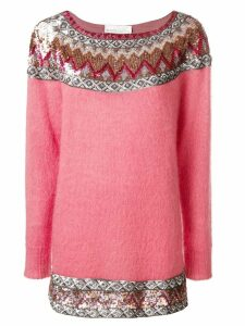 Alberta Ferretti sequin embellished slash neck sweater - PINK
