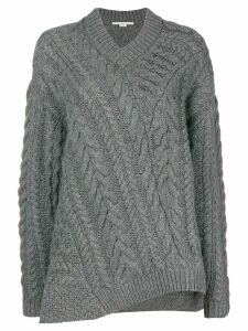 Stella McCartney off-centre cable knit sweater - Grey