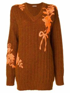 Christopher Kane oversized embroidered sweater - Brown