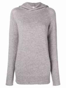 Ma'ry'ya hooded fine knit sweater - Grey