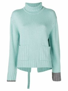 Eudon Choi deconstructed roll neck sweater - Blue