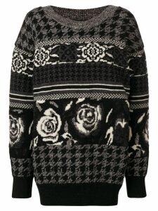 Junya Watanabe jacquard knit sweater - Black