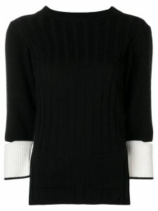Eudon Choi cut out sleeve knitted sweater - Black