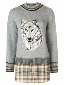 Alberta Ferretti woolf pattern sweater - Grey