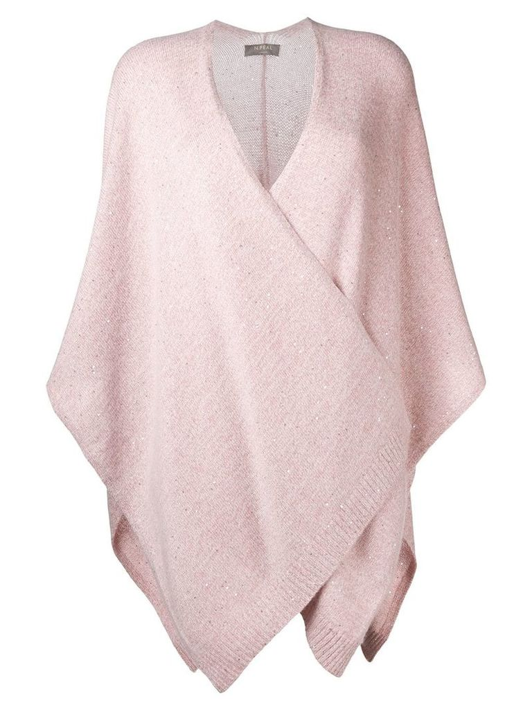 N.Peal Waterfall knitted cape - Pink & Purple