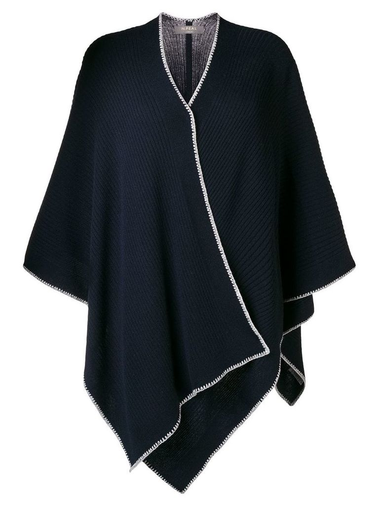 N.Peal crochet detail knitted cape - Blue