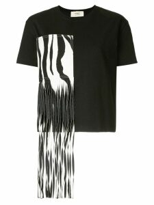 Ports 1961 zebra fringed patch T-shirt - Black