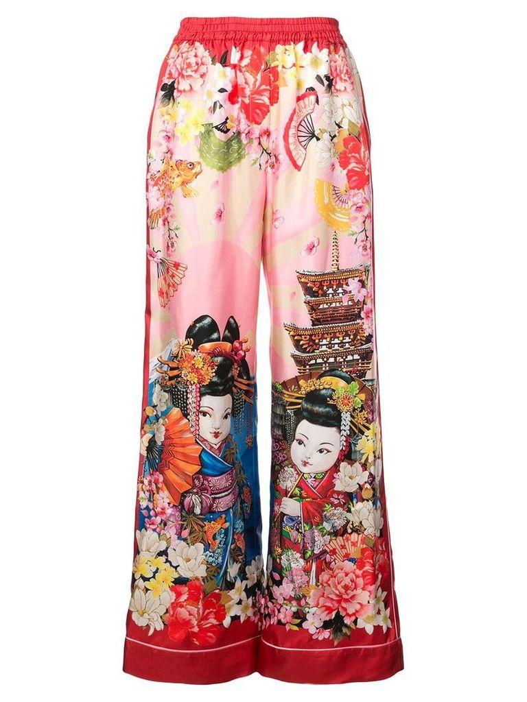 Dolce & Gabbana geisha print palazzo trousers - Pink & Purple