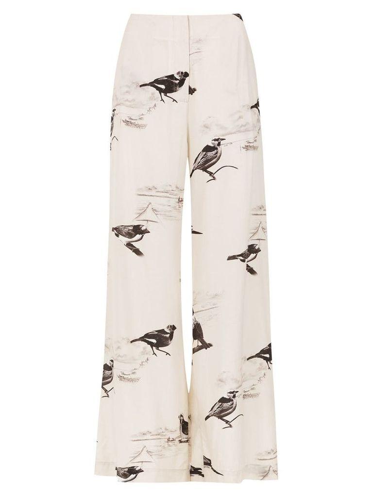 Osklen printed palazzo pants - White