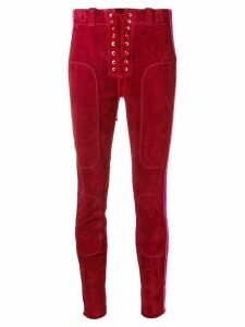 Unravel Project side stripe suede trousers - Red