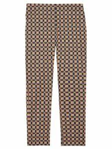Burberry Tiled Archive Print Stretch Cotton Cigarette Trousers - Blue
