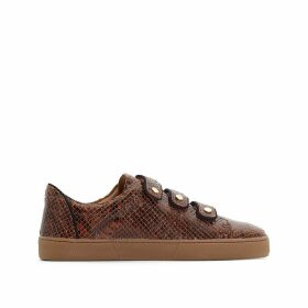 Leather Touch 'n' Close Low Top Trainers