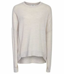 Reiss Darcia - Merino Jumper in Grey Melange, Womens, Size XXL