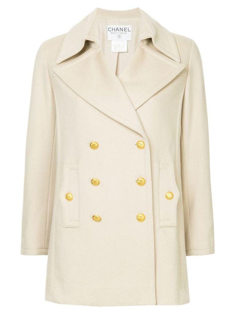 Chanel Vintage Long Sleeve Coat Jacket - Nude & Neutrals