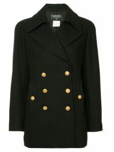 Chanel Pre-Owned long sleeve coat jacket - Black