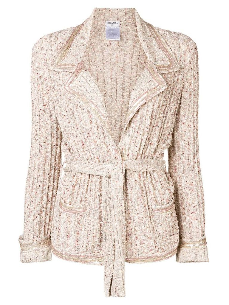 Chanel Vintage striped belted jacket - Nude & Neutrals