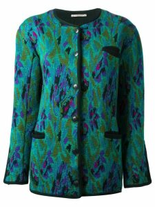 Yves Saint Laurent Pre-Owned jacquard long cardigan - Green