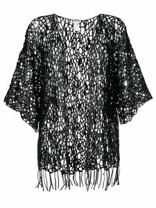 Issey Miyake Pre-Owned sheer lace knitted cardigan - Black
