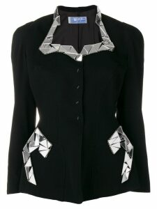 Thierry Mugler Pre-Owned mirrored appliqués fitted jacket - Black