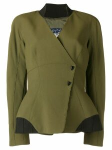 Thierry Mugler Pre-Owned 1980's off-centre fitted jacket - Green