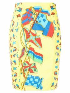 Versace Pre-Owned flag print skirt - Yellow