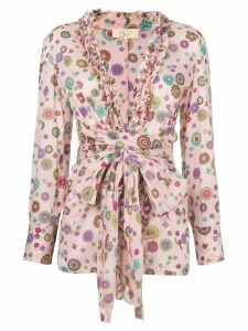 Romeo Gigli Pre-Owned floral print belted blouse - Pink